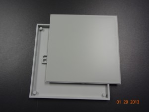6X6 Gray Nameplate Insert and Frame with Square Corners Image