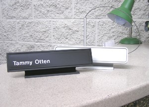 Desk Nameplate with Square Corners and White Name Image